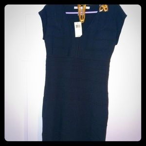 NWT max studio navy bodycon dress large & jewelery